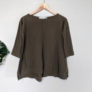 Anthropologie Sparrow Olive Green Swing Sweater